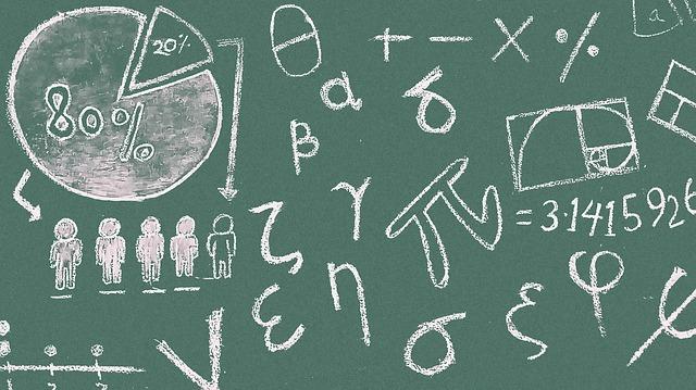 vzorce a příklady na školní tabuli
