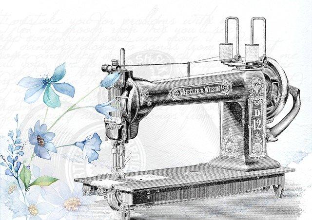 šicí stroj kresba