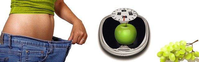 hrozny, jablko, váha, hubnutí